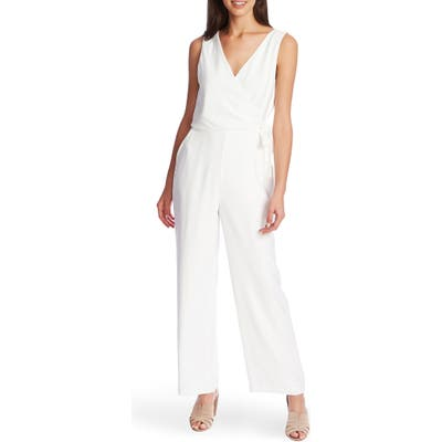 1.state Wrap Front Sleeveless Soft Twill Jumpsuit, Ivory