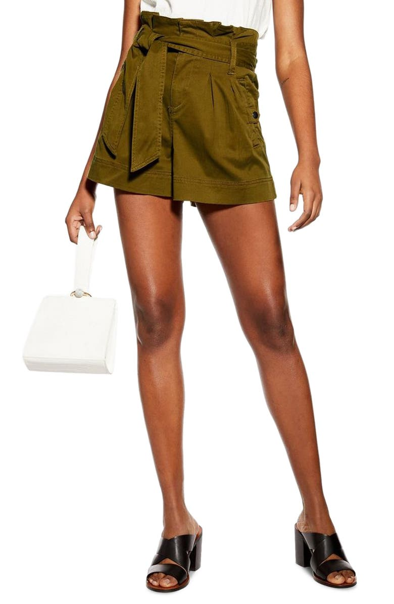 TOPSHOP Paperbag Utility Shorts, Main, color, 300