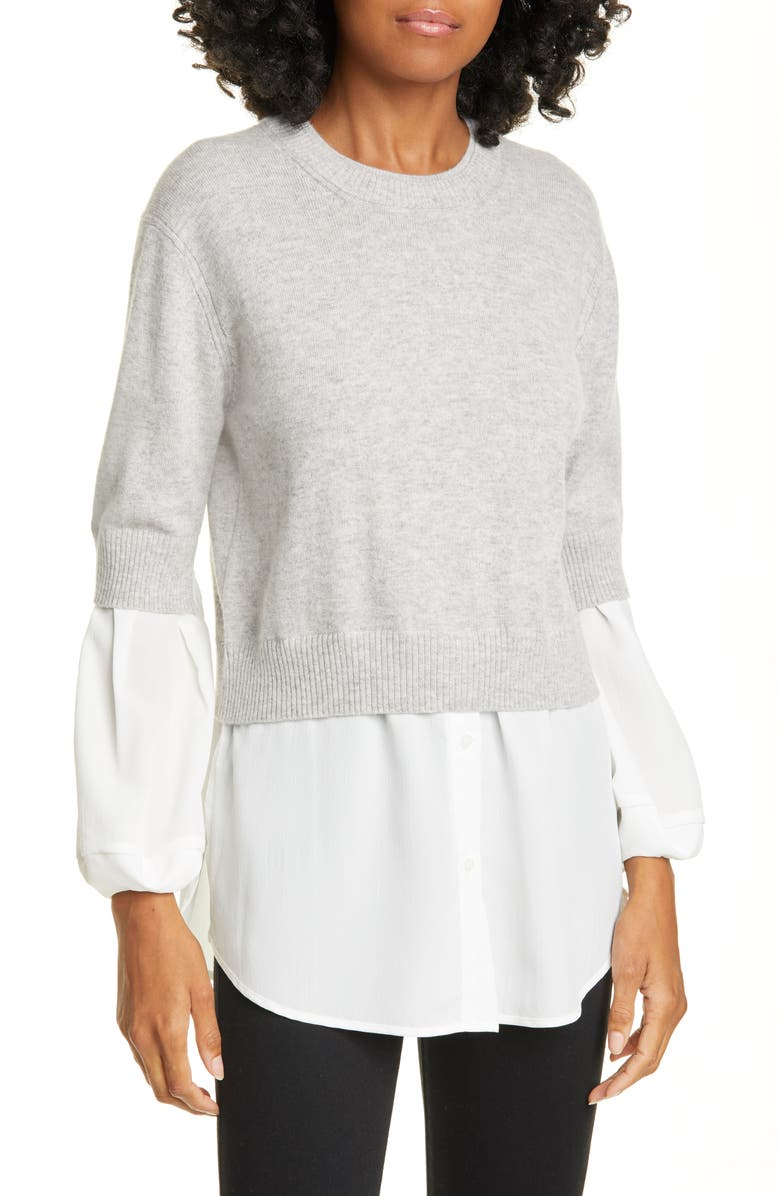 BROCHU WALKER Ebella Layered Sweater, Main, color, VAIL GRY MEL W/ WHT