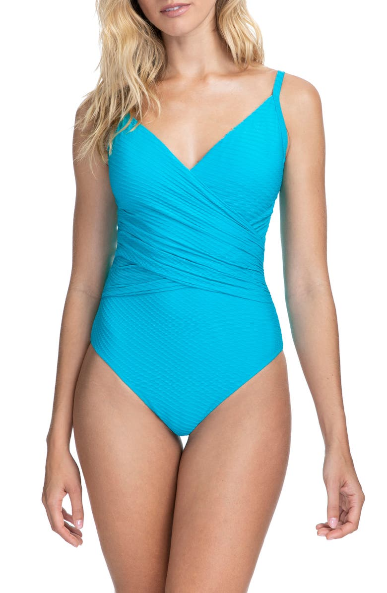 PROFILE BY GOTTEX Ribbons Surplice One-Piece Swimsuit, Main, color, AZURE