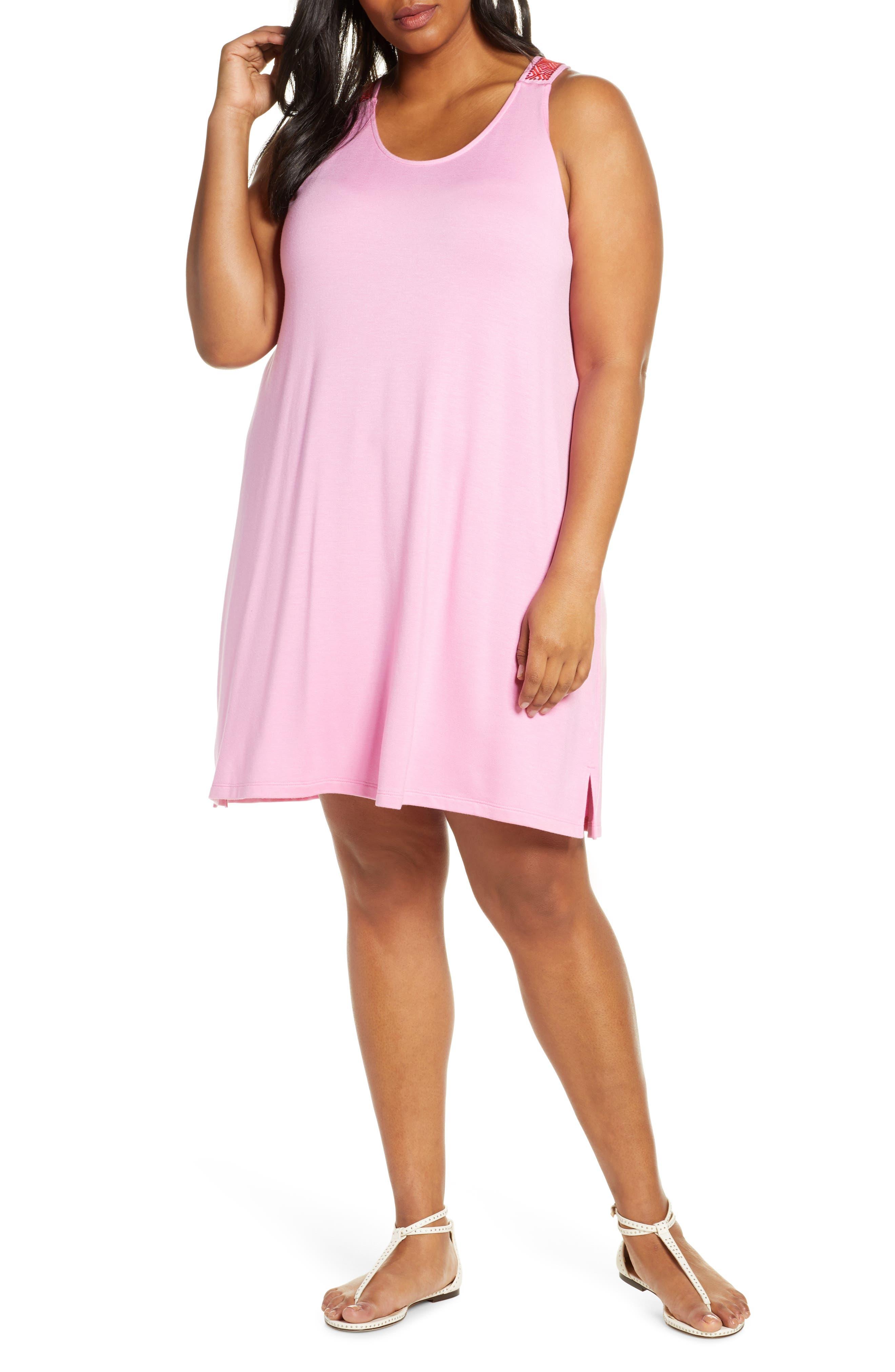 Plus Size Gibson X Hi Sugarplum! Sicily Embroidered Racerback Tank Dress, Pink