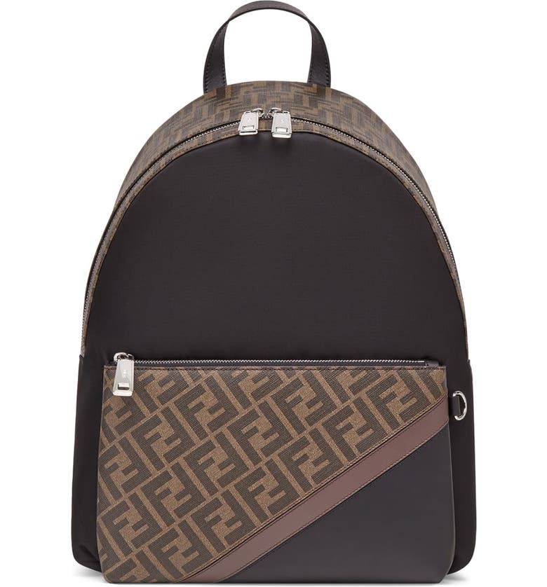 FENDI Double-F Logo Backpack, Main, color, BROWN