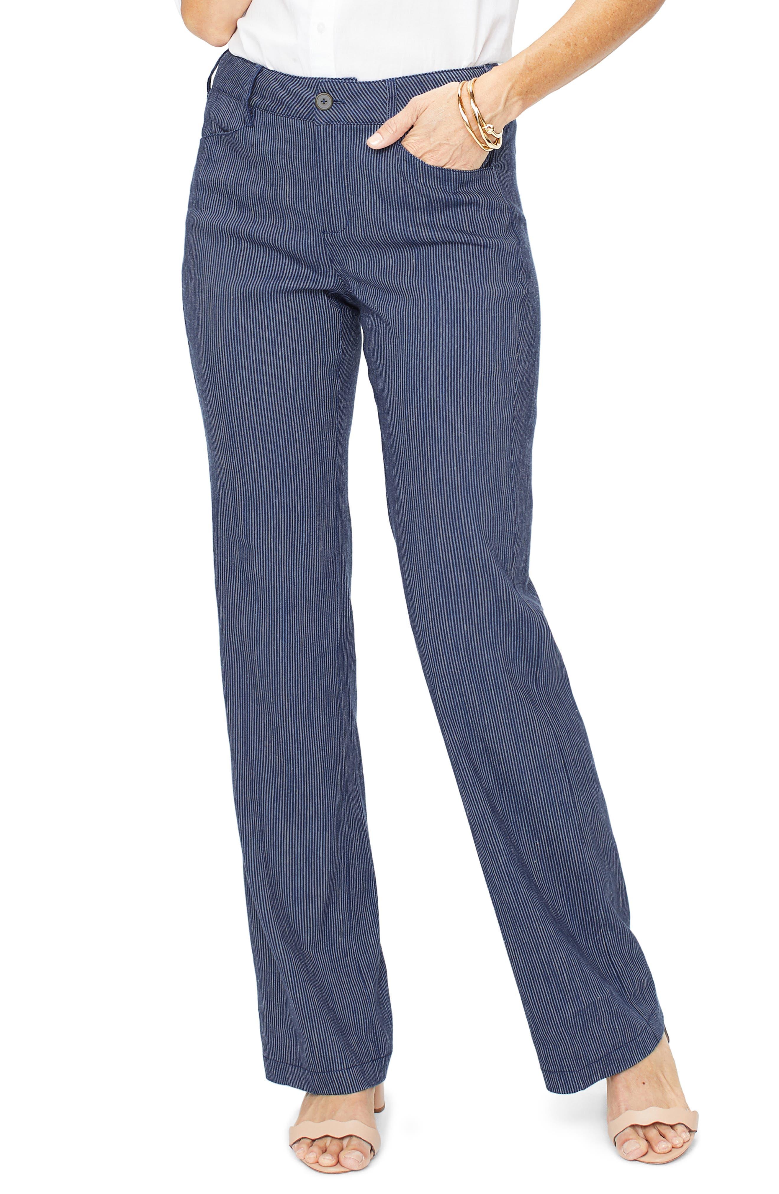 The Trouser Linen Blend Pants, Main, color, AGUA STRIPE