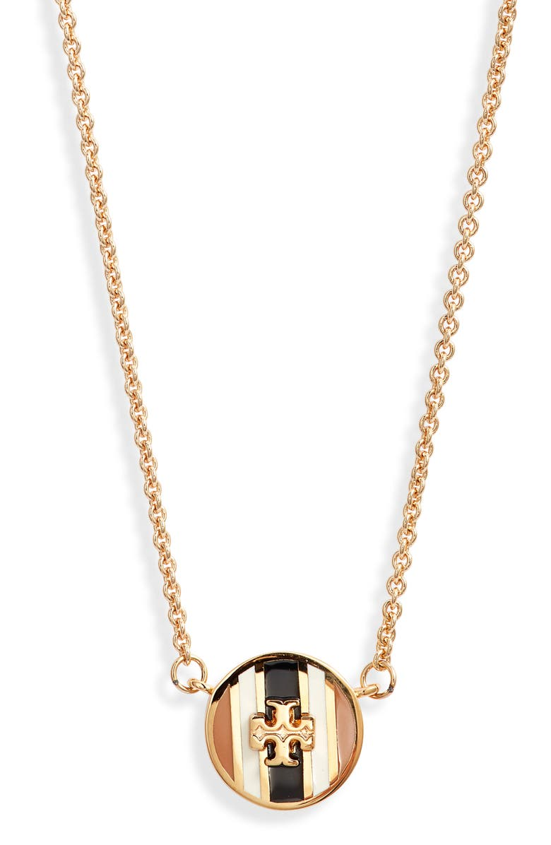 TORY BURCH Kira Pendant Necklace, Main, color, TORY GOLD/BLACK/IVORY/CAMELLO