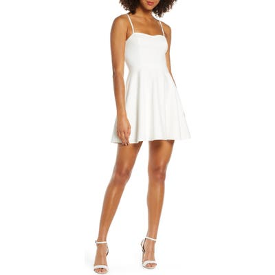 French Connection Sweetheart Neck Fit & Flare Minidress, White