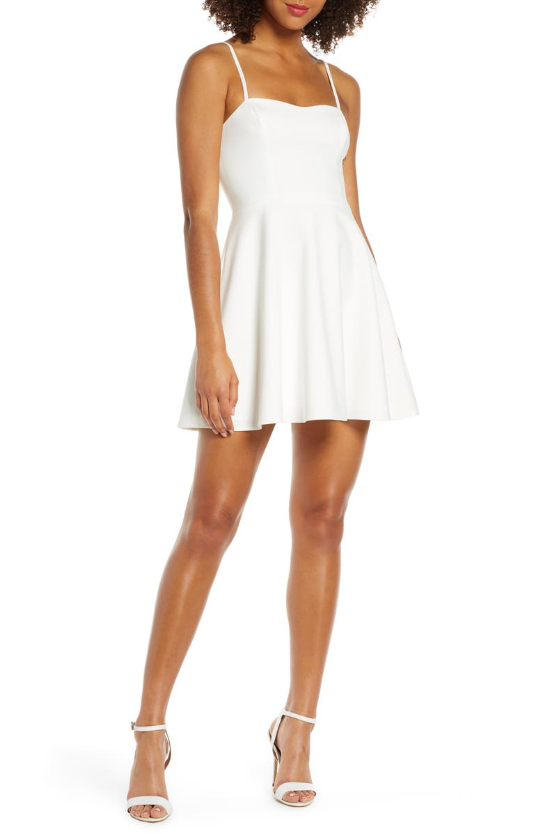 FRENCH CONNECTION Sweetheart Neck Fit & Flare Minidress, Main, color, SUMMER WHITE