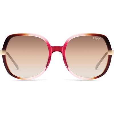 Quay Australia Gold Dust 55Mm Square Sunglasses - Off Pink/ Brown