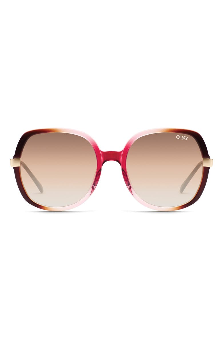 QUAY AUSTRALIA Gold Dust 55mm Square Sunglasses, Main, color, OFF PINK/ BROWN