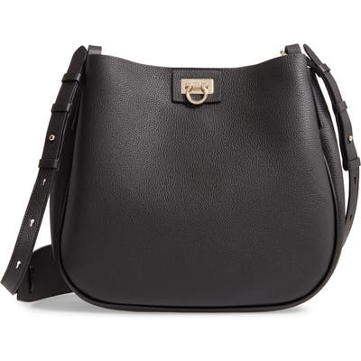 Salvatore Ferragamo Medium Suede Hobo - Black