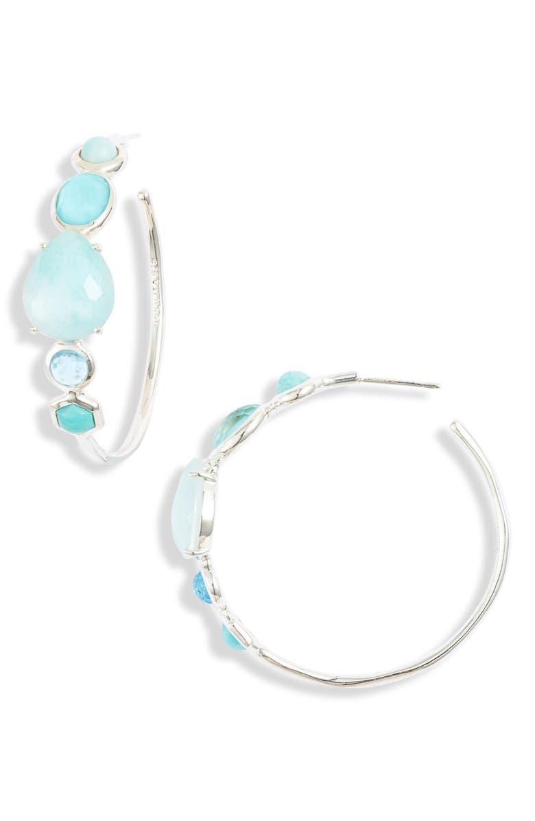 IPPOLITA Rock Candy Mixed Stone Bezel Hoop Earrings, Main, color, WATERFALL