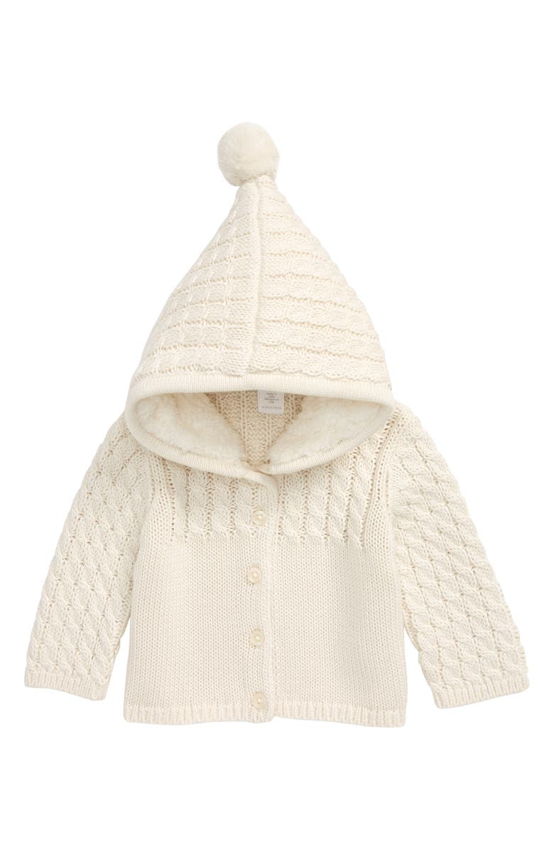 NORDSTROM Stitch Mix Plush Hooded Cardigan Sweater, Main, color, IVORY EGRET