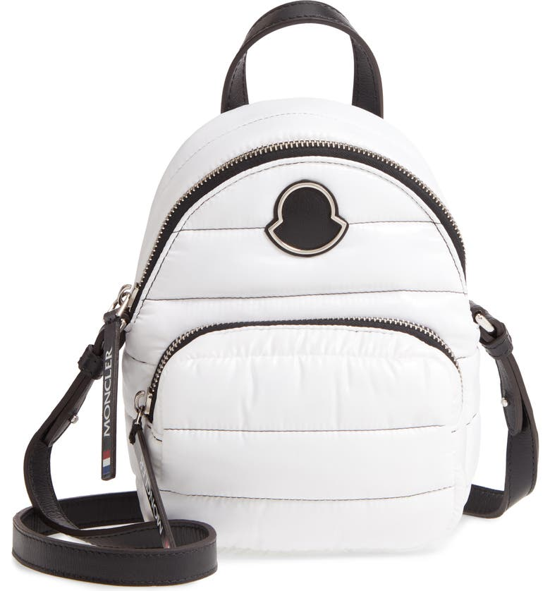 MONCLER Mini Kilia Quilted Crossbody Backpack, Main, color, WHITE