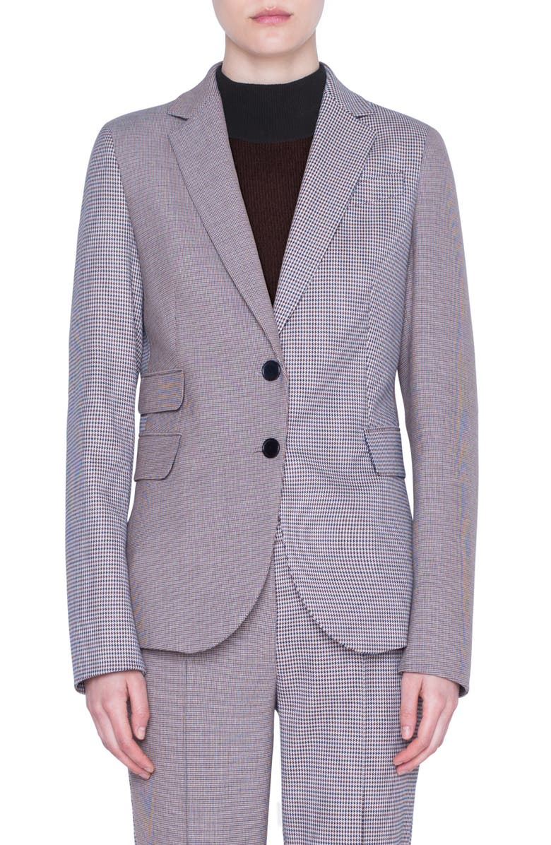 AKRIS PUNTO Houndstooth Two-Button Jacket, Main, color, CREAM BURGUNDY BLACK