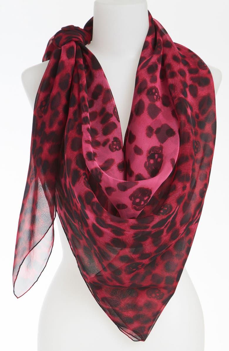 ALEXANDER MCQUEEN 'Leopard Skull' Chiffon Scarf, Main, color, 001