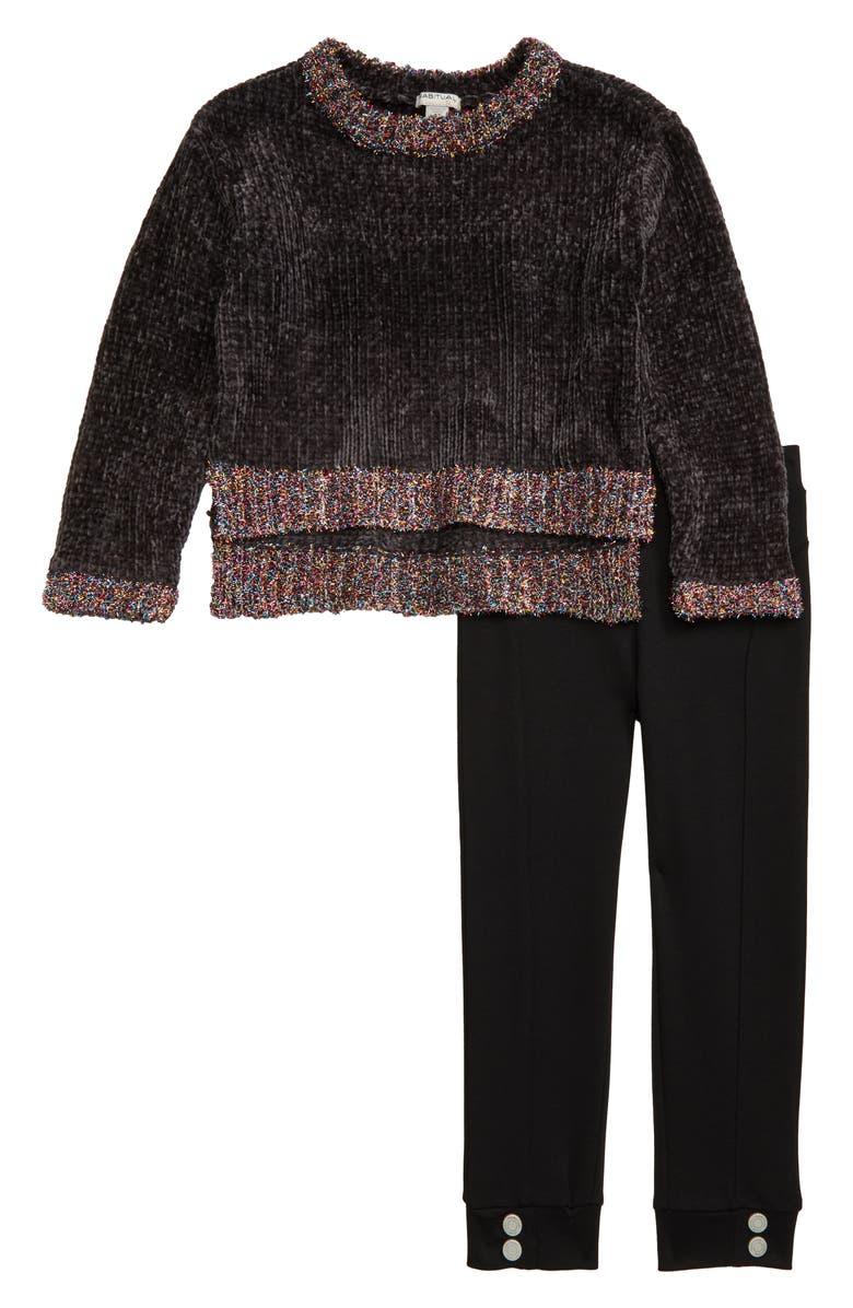 HABITUAL Colbie Chenille Sweater & Ponte Leggings Set, Main, color, GREY