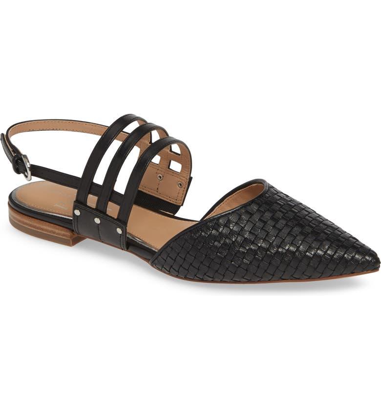 LINEA PAOLO Dahlia Pointy Toe Flat, Main, color, BLACK LEATHER