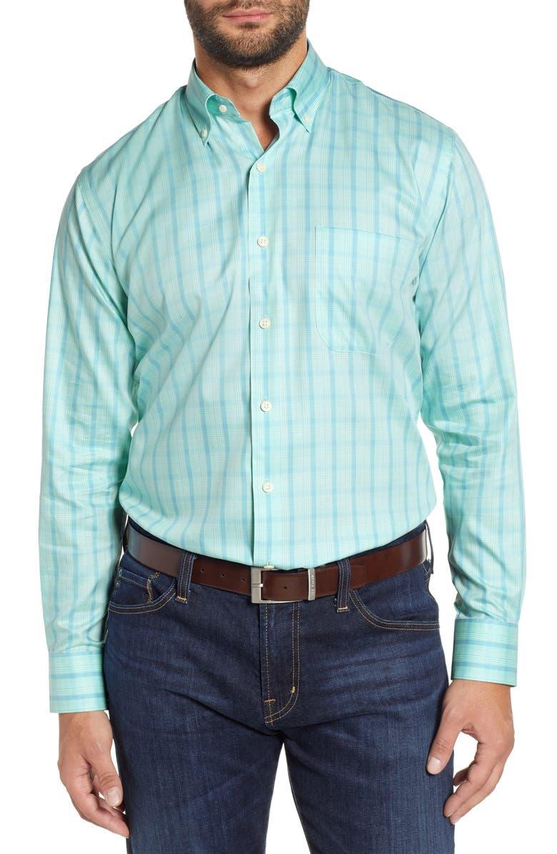 PETER MILLAR Blue Whale Regular Fit Plaid Sport Shirt, Main, color, 315