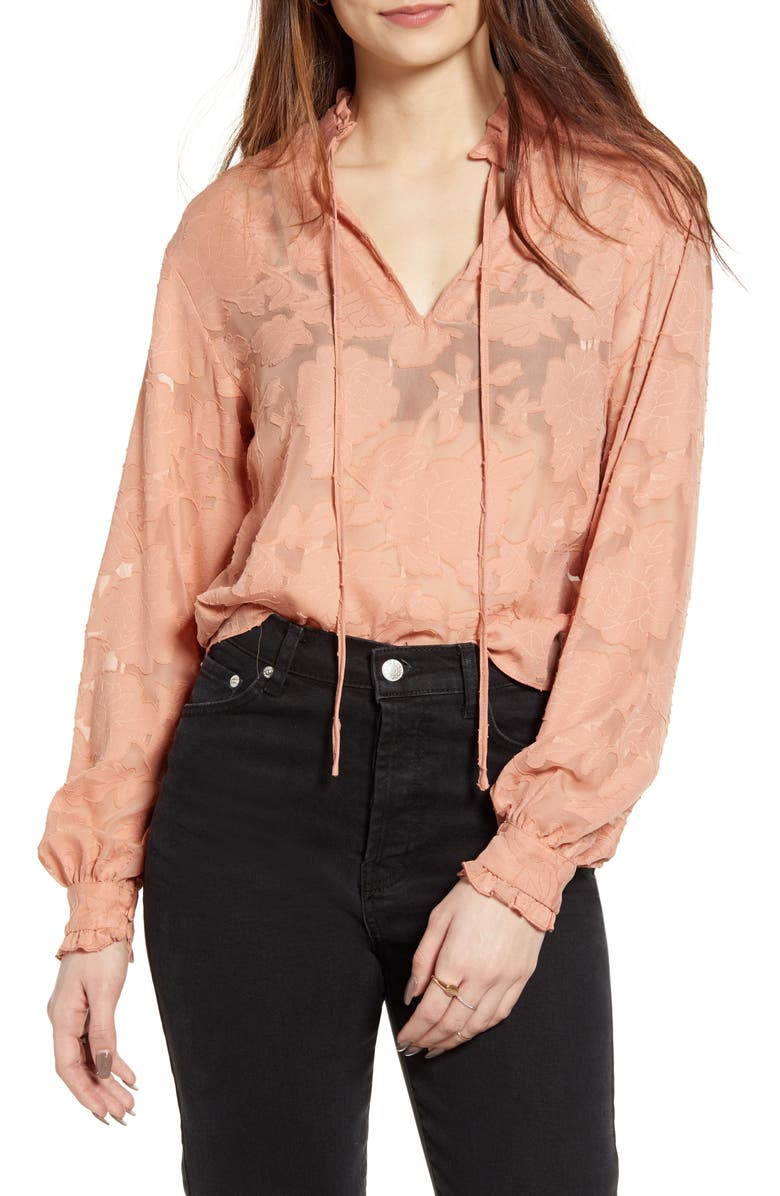 NA-KD Floral Jacquard Frill Neck Blouse, Main, color, DARK DUSTY PINK