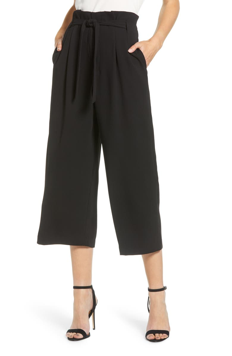 BISHOP + YOUNG Paperbag Waist Crop Pants, Main, color, BLACK
