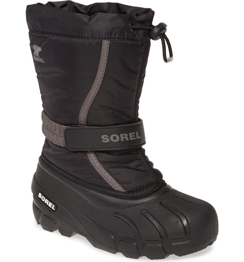 SOREL Flurry Weather Resistant Snow Boot, Main, color, BLACK/ CITY GREY