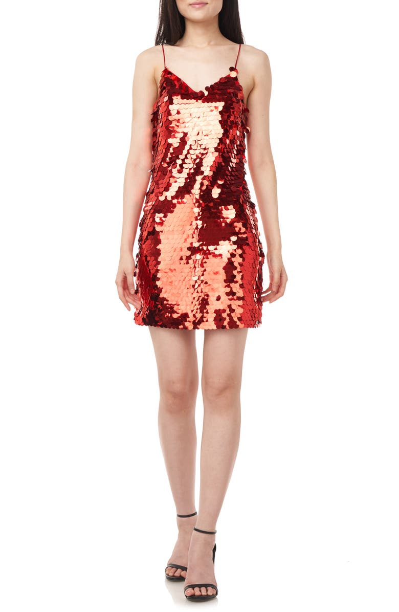LOVE BY THEIA Paillette Cocktail Slipdress, Main, color, RED