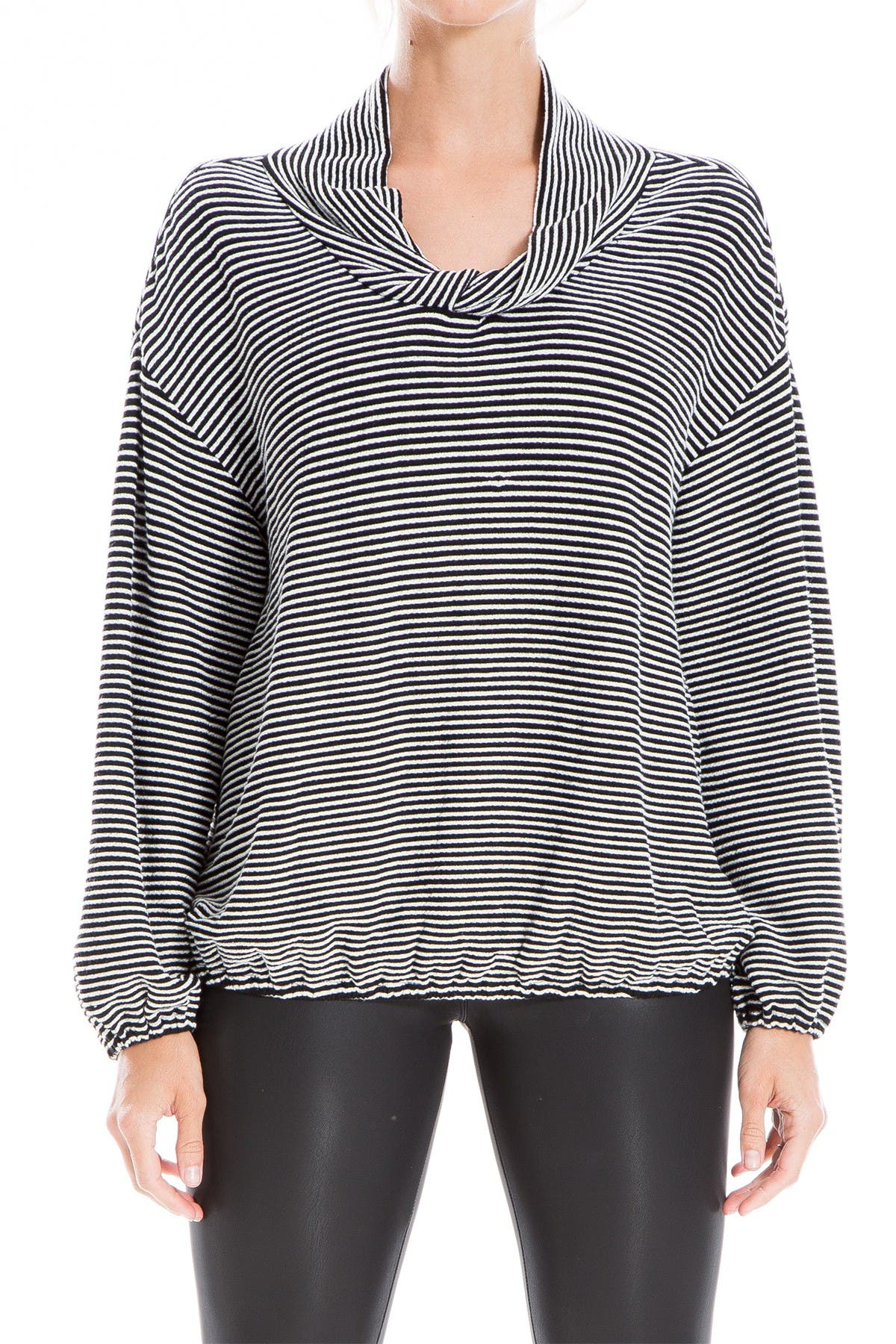 Image of Max Studio Striped Twisted Cowl Neck Long Sleeve Top