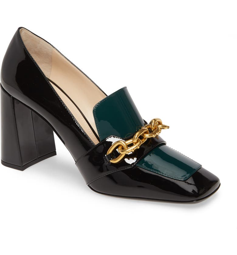 PRADA Chain Link Loafer Pump, Main, color, BLACK PATENT