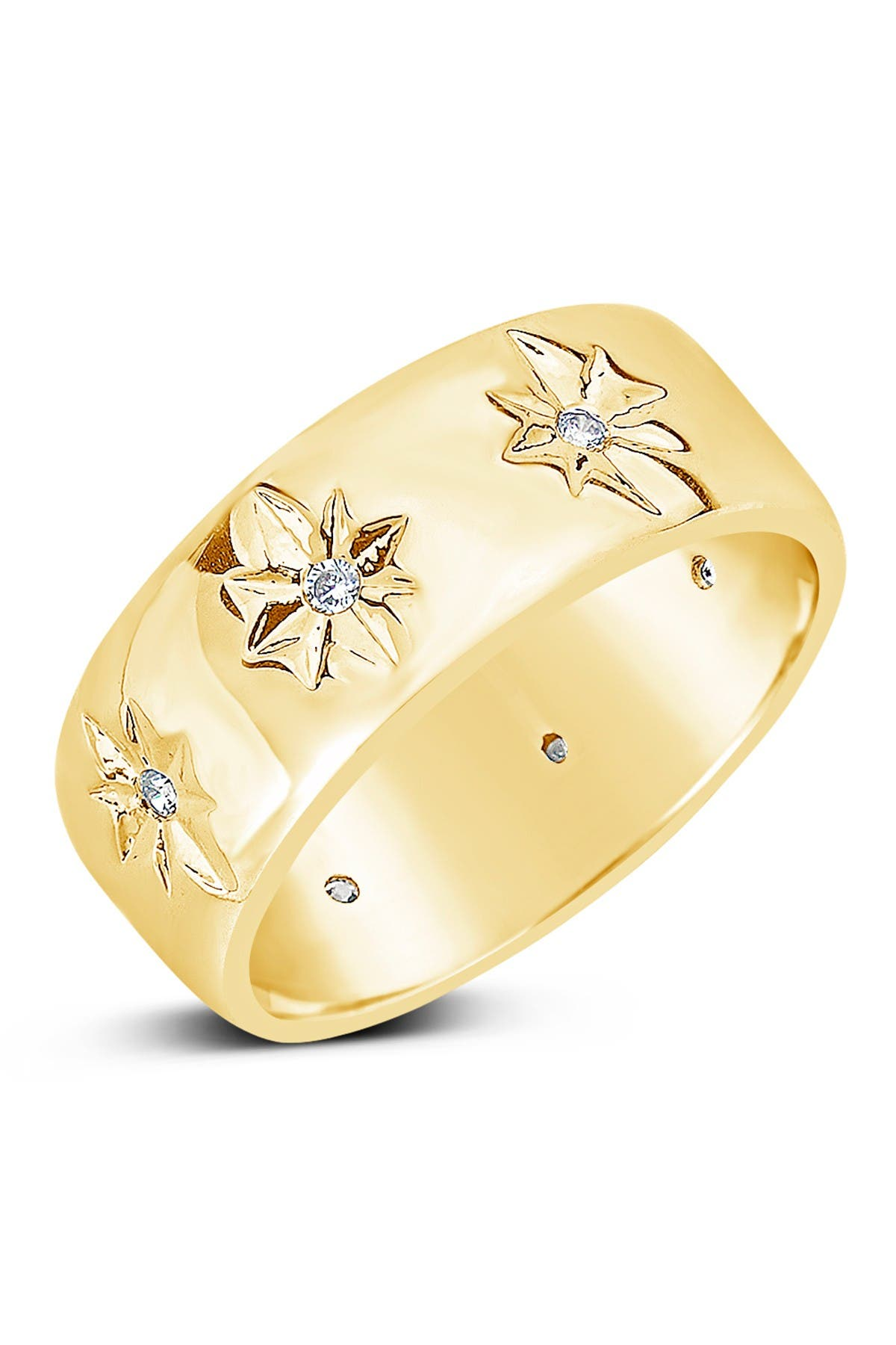 Image of Sterling Forever Cubic Zirconia Starburst Band Ring