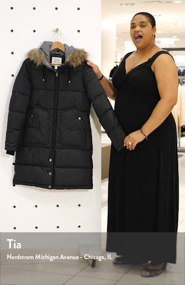 Faux Fur Trim Longline Puffer Jacket, sales video thumbnail