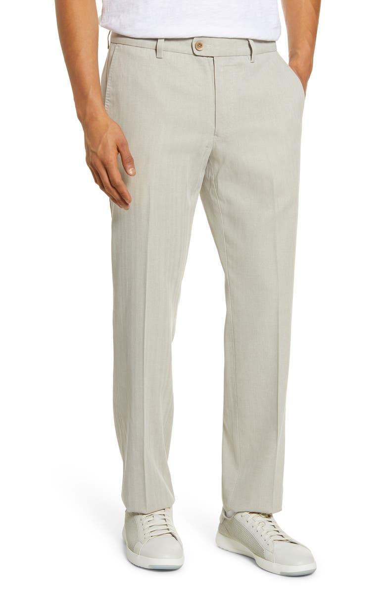 TOMMY BAHAMA Havana Herringbone Authentic Silk Blend Straight Leg Pants, Main, color, KHAKI SANDS