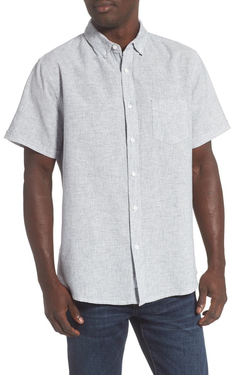 ONIA Jack Microstripe Short Sleeve Button-Down Linen Blend Shirt, Main, color, ENSIGN BLUE