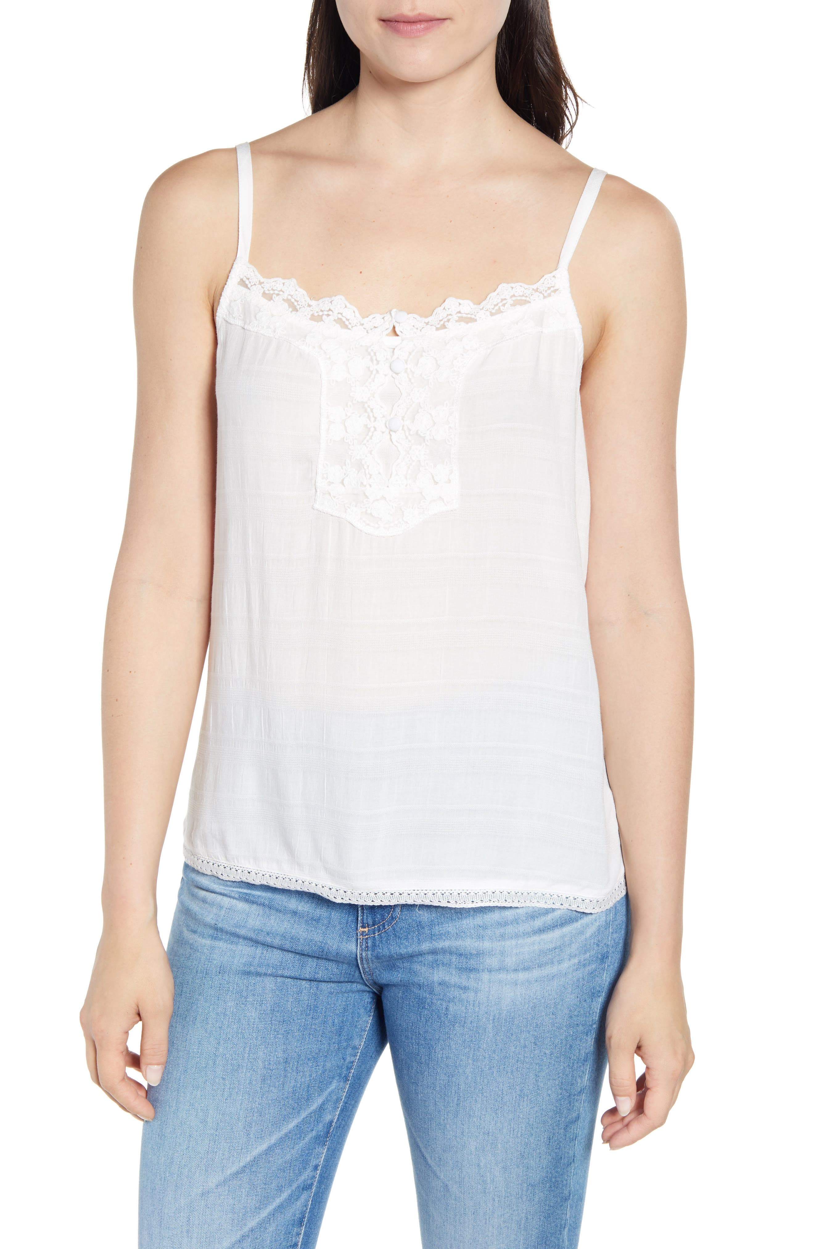 Wit & Wisdom Embroidery Detail Camisole, White (Nordstrom Exclusive)