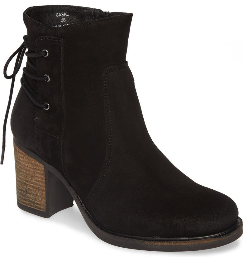 BOS. & CO. Basal Waterproof Bootie, Main, color, BLACK SUEDE