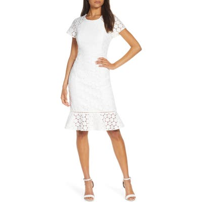 Lilly Pulitzer Aliza Polka Dot Lace Shift Dress, White