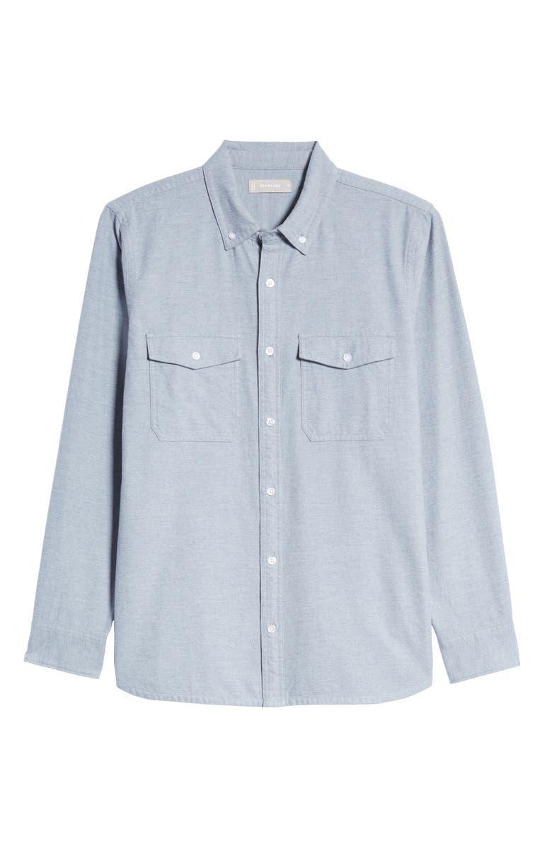 EVERLANE The Modern Flannel Shirt, Main, color, HEATHER MIST