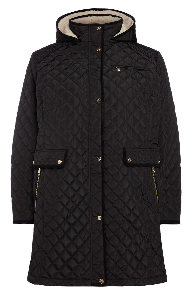 LAUREN RALPH LAUREN Quilted Coat with Faux Shearling Lining, Main, color, 001