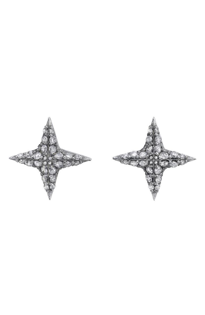 SHERYL LOWE Diamond Star Stud Earrings, Main, color, STERLING SILVER