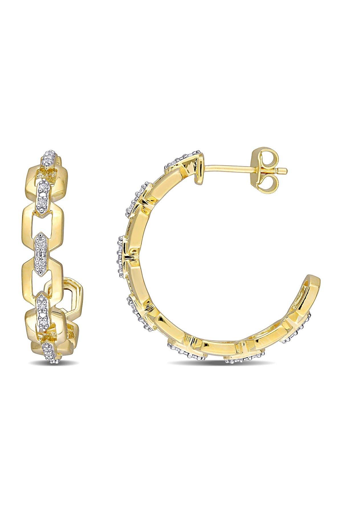 Image of Delmar 18K Yellow Gold Plated Sterling Silver Diamond Link 27.3mm Hoop Earrings - 0.14 ctw