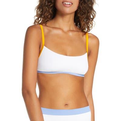 L Space Gemma Ribbed Bikini Top, White