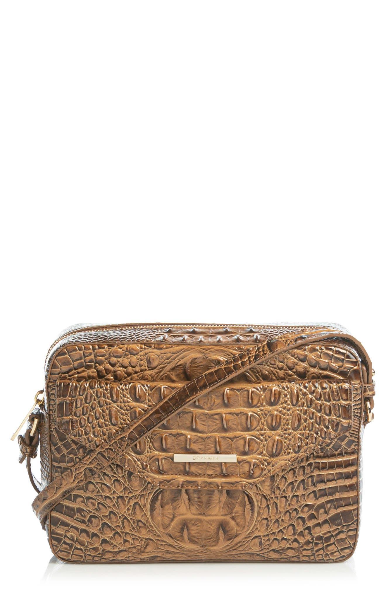 Shea Croc Embossed Leather Crossbody Bag