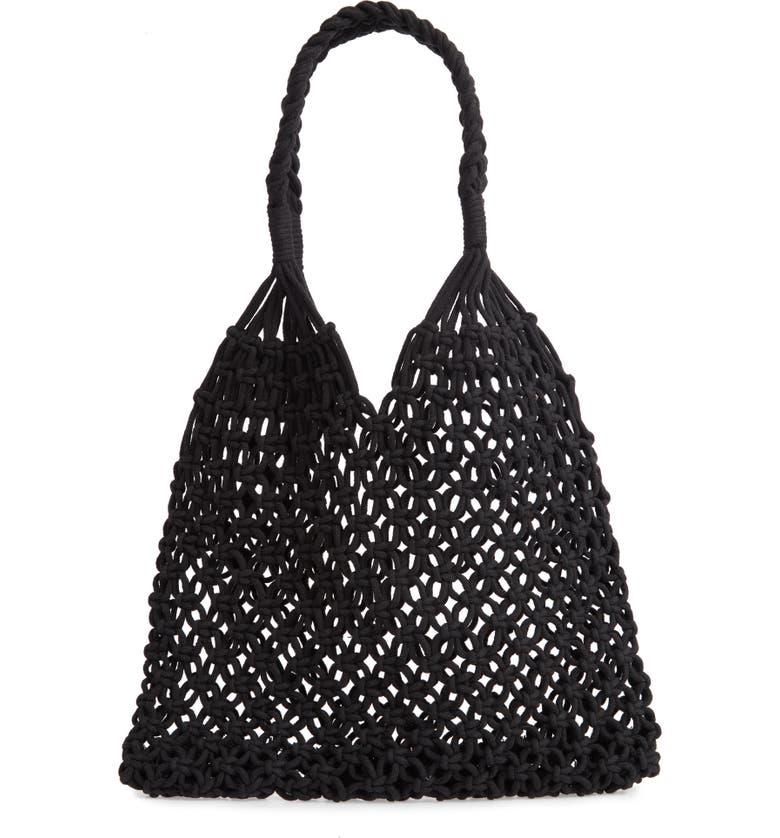 KNOTTY Crochet Tote Bag, Main, color, 001