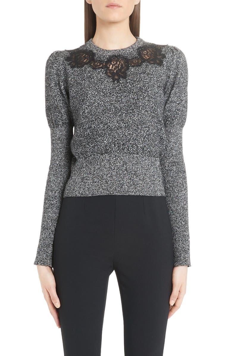 DOLCE&GABBANA Lace Detail Cashmere Blend Sweater, Main, color, BLACK WHITE