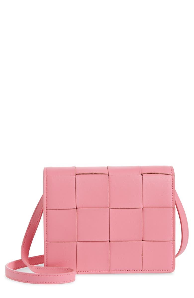 BOTTEGA VENETA Intrecciato Leather Wallet on a Strap, Main, color, ROSA