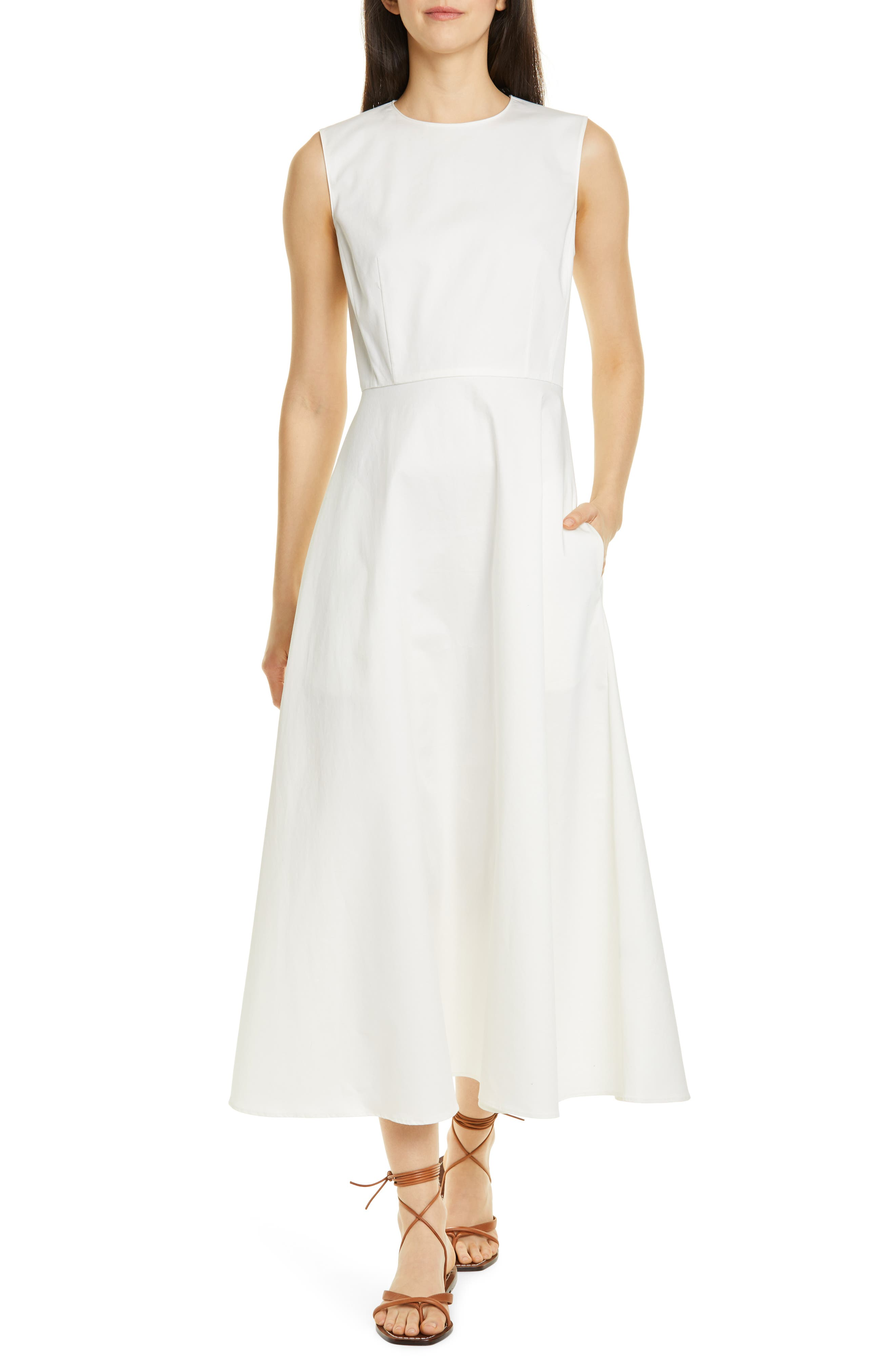 Theory Sleeveless Stretch Cotton Dress, White