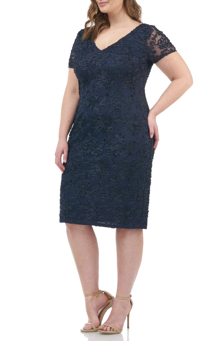 JS COLLECTIONS Soutache Embroidered V-Neck Cocktail Dress, Main, color, NAVY