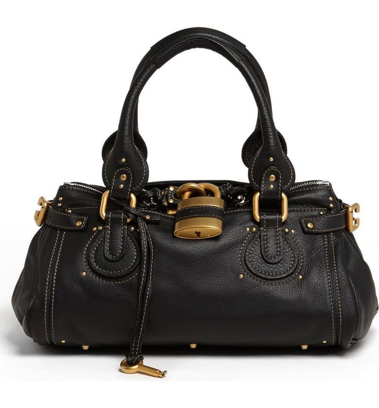 CHLOÉ 'Paddington' Leather Satchel, Main, color, 001