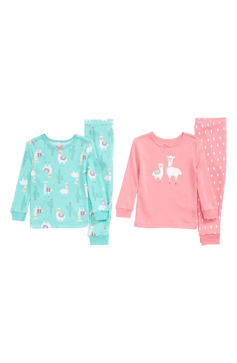 LITTLE ME Llama 2-Pack Fitted Two-Piece Pajamas, Main, color, 699