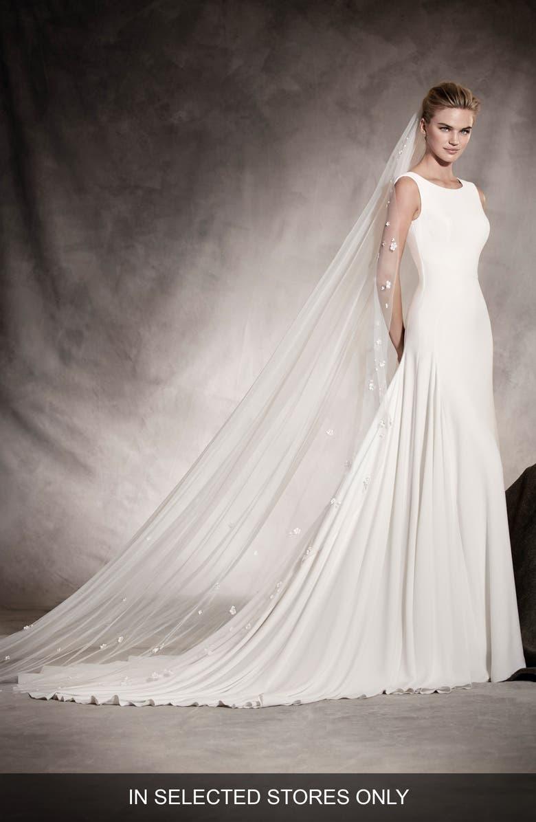 PRONOVIAS Amaya Crepe A-Line Gown, Main, color, 900