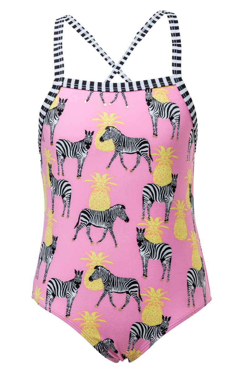 SNAPPER ROCK Zebra Pineapple One-Piece Swimsuit, Main, color, PINK/ YELLOW/ BLACK
