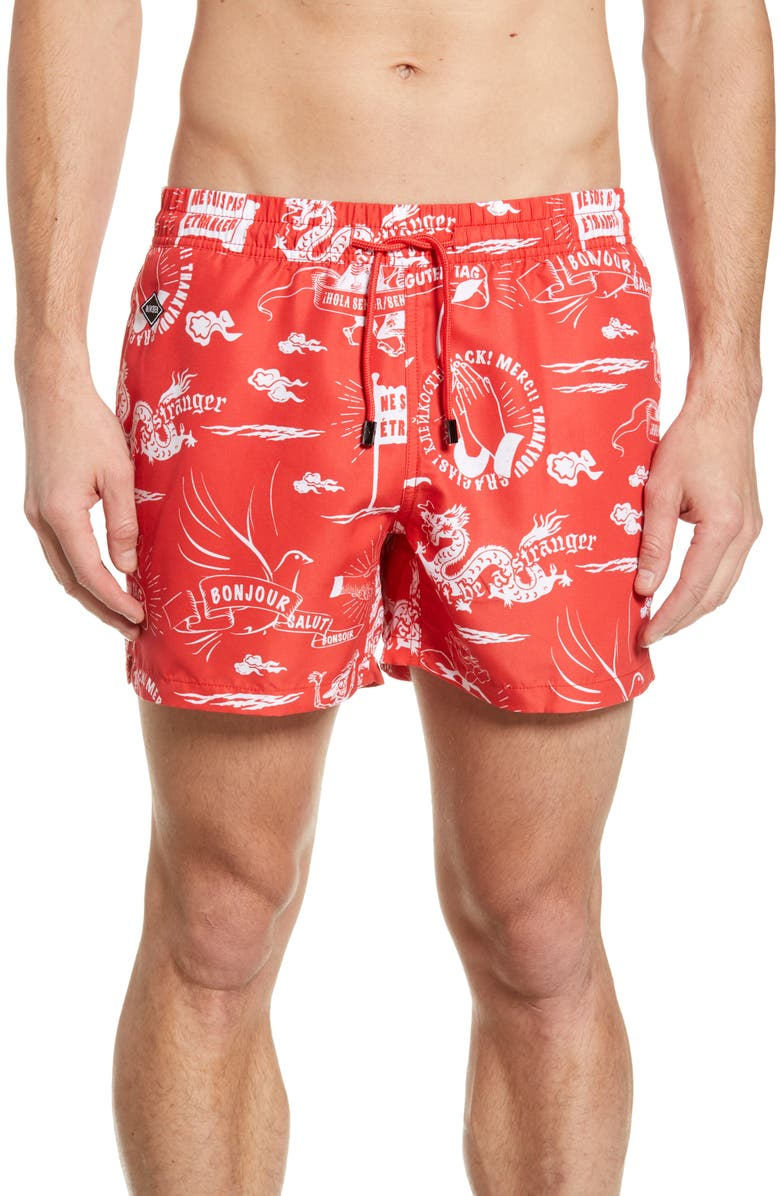 NIKBEN Stranger Swim Trunks, Main, color, RED
